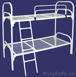 Двухъярусные железные кровати, для казарм, металлические кровати с ДСП спинками - Изображение #1, Объявление #1478860