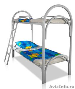 Двухъярусные железные кровати, для казарм, металлические кровати с ДСП спинками - Изображение #3, Объявление #1478860